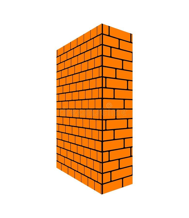 Brick wall isolated perspective. Brickwork Vector illustration.  stock illustration
