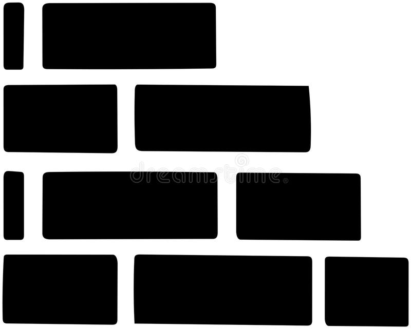 Brick wall isolated on white background.  royalty free illustration