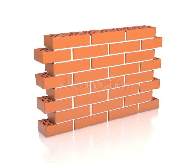 Brick wall isolated on white background. Brick wall on white background 3d isolated illustration stock illustration