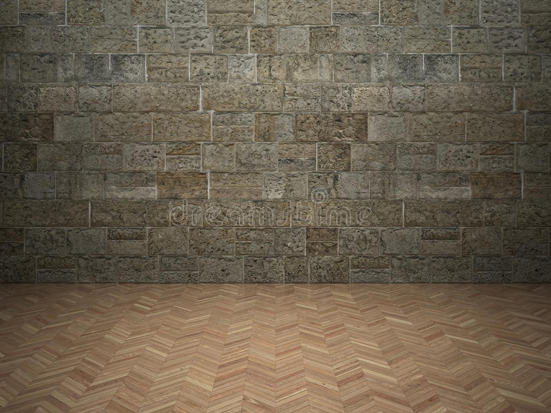 Brick wall and laminate floor royalty free stock image