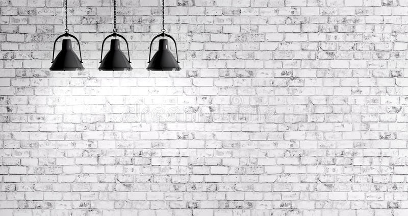 Download brick wall with lamps background stock illustration illustration of three wall 60255552