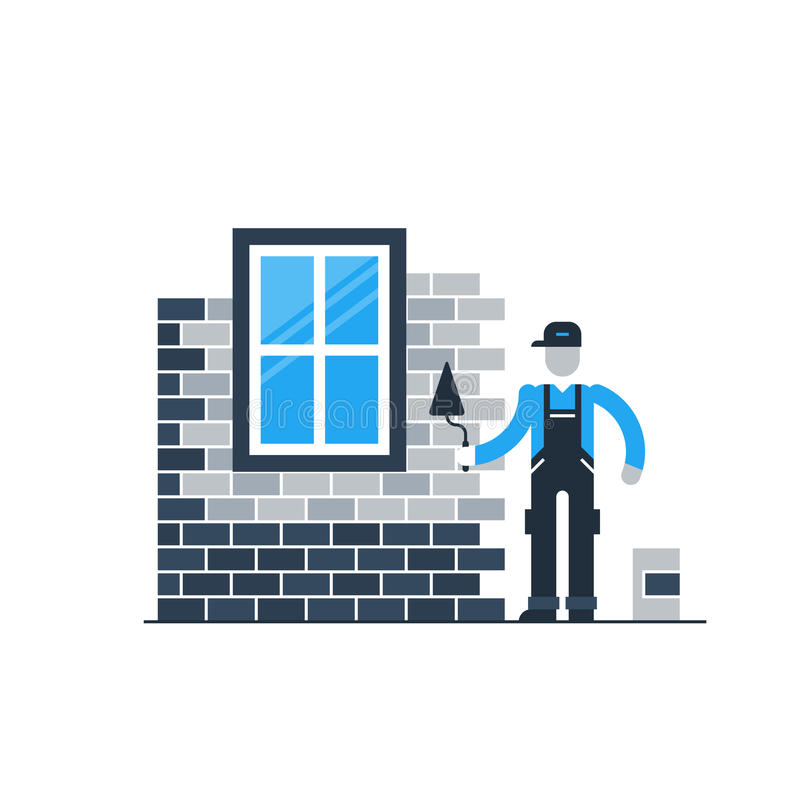 Brick wall layer worker with window stock illustration