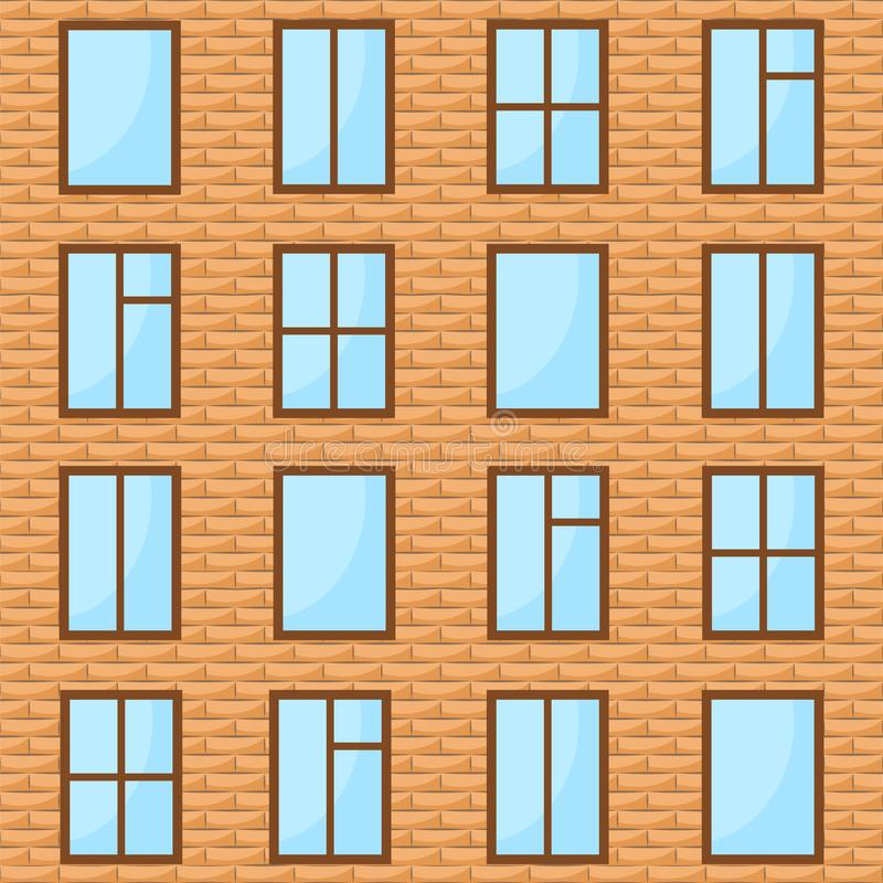 brick wall with many windows as background, stock vector illustration royalty free illustration