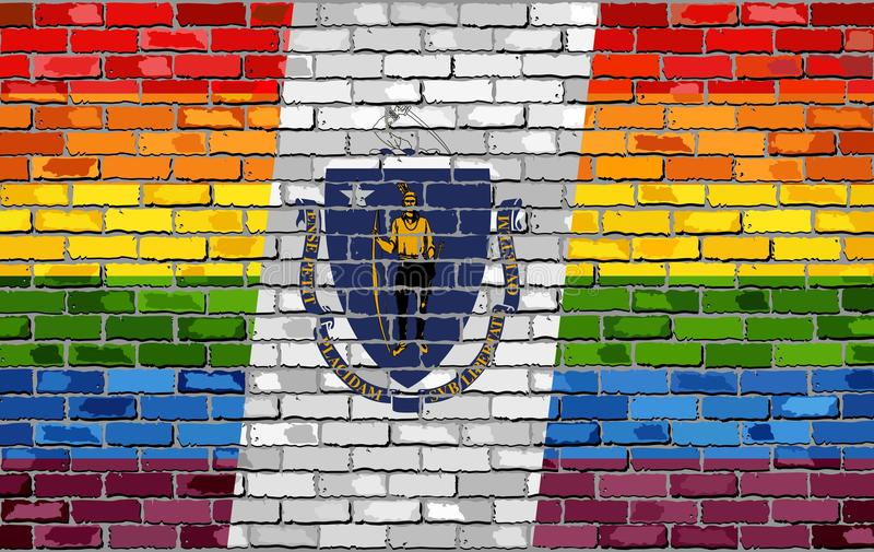 Brick Wall Massachusetts and Gay flags stock illustration