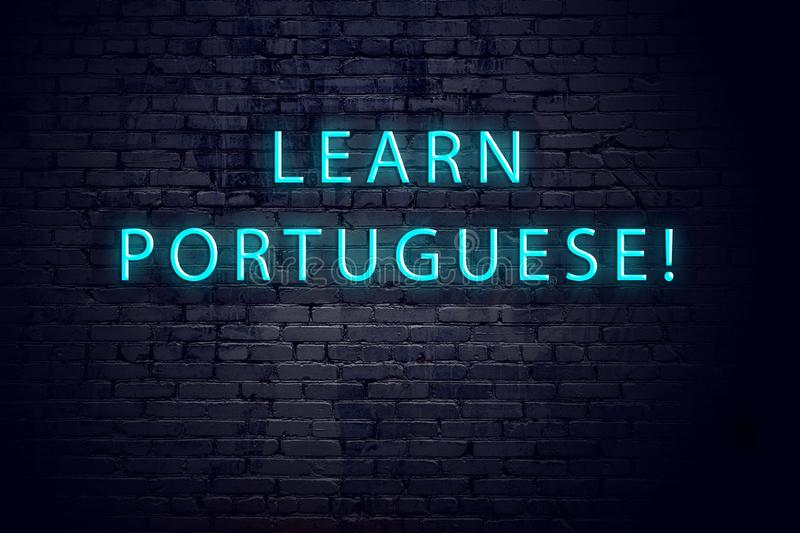 Brick wall and neon sign with inscription. Concept of learning portuguese vector illustration
