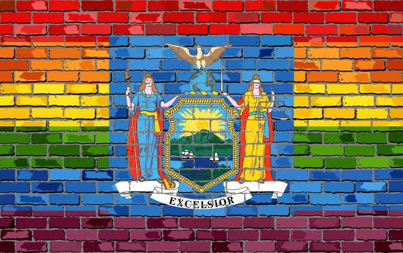 Brick Wall Usa And Gay Flags Royalty Free Stock Image