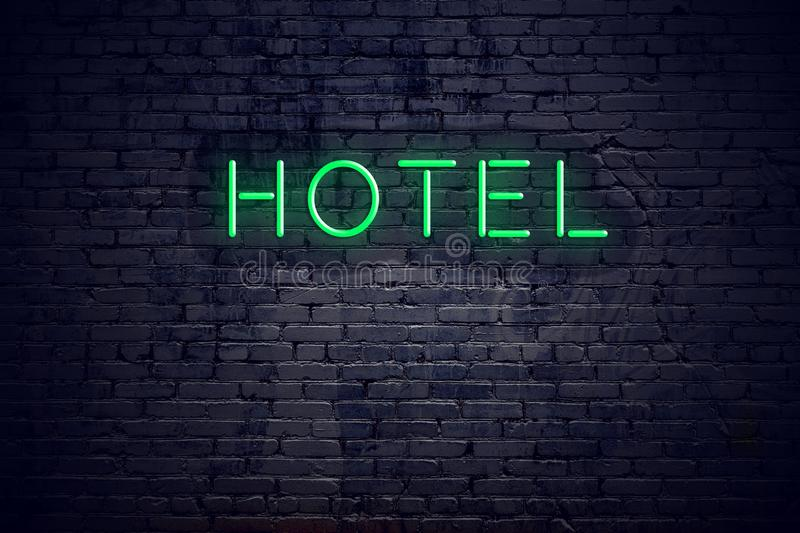 Brick wall at night with neon sign hotel vector illustration