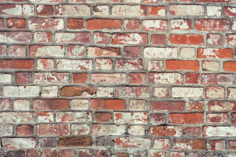 Brick wall, old texture of red stone blocks. Background. stock images