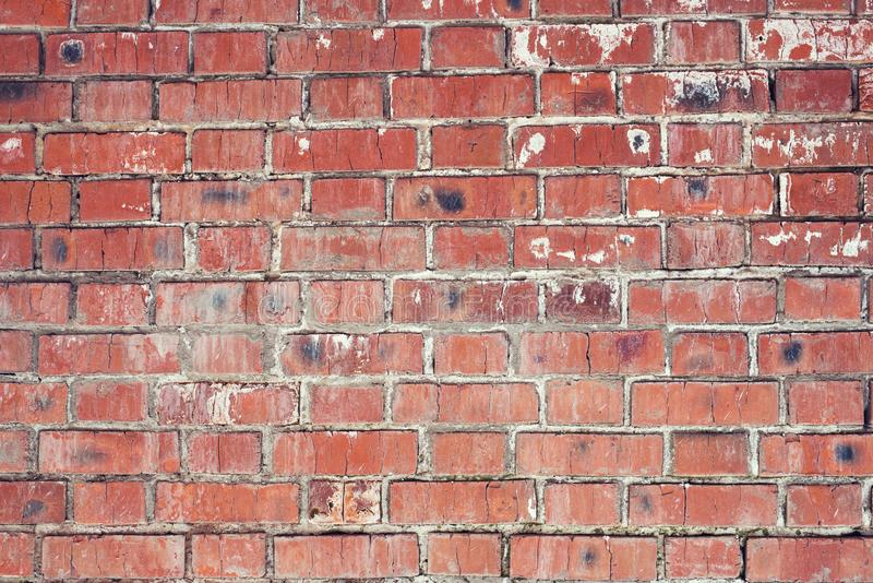 Brick wall, old texture of red stone blocks. Background. royalty free stock photos