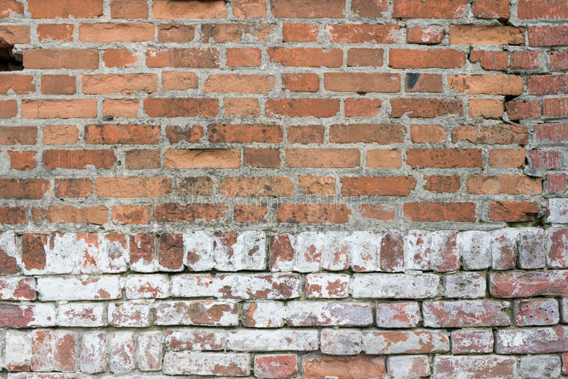 Brick wall, old texture of red stone blocks. Background. stock photo