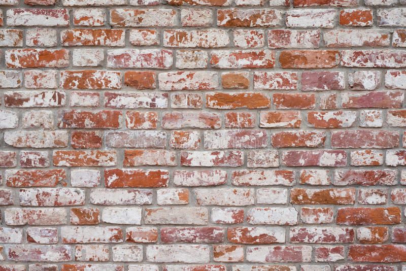 Brick wall, old texture of red stone blocks. Background. royalty free stock photography