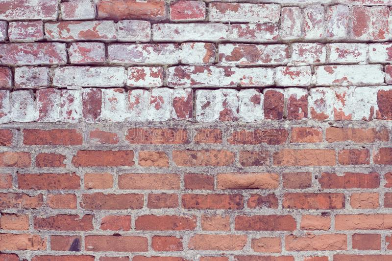 Brick wall, old texture of red stone blocks. Background. stock photography