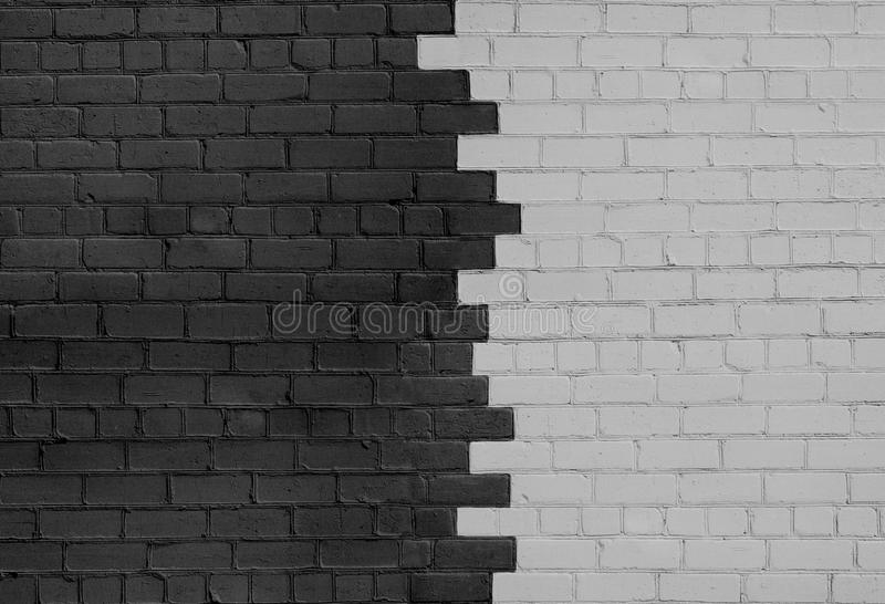 Brick Wall Parted on Dark and Light Sides. In the Middle stock photography
