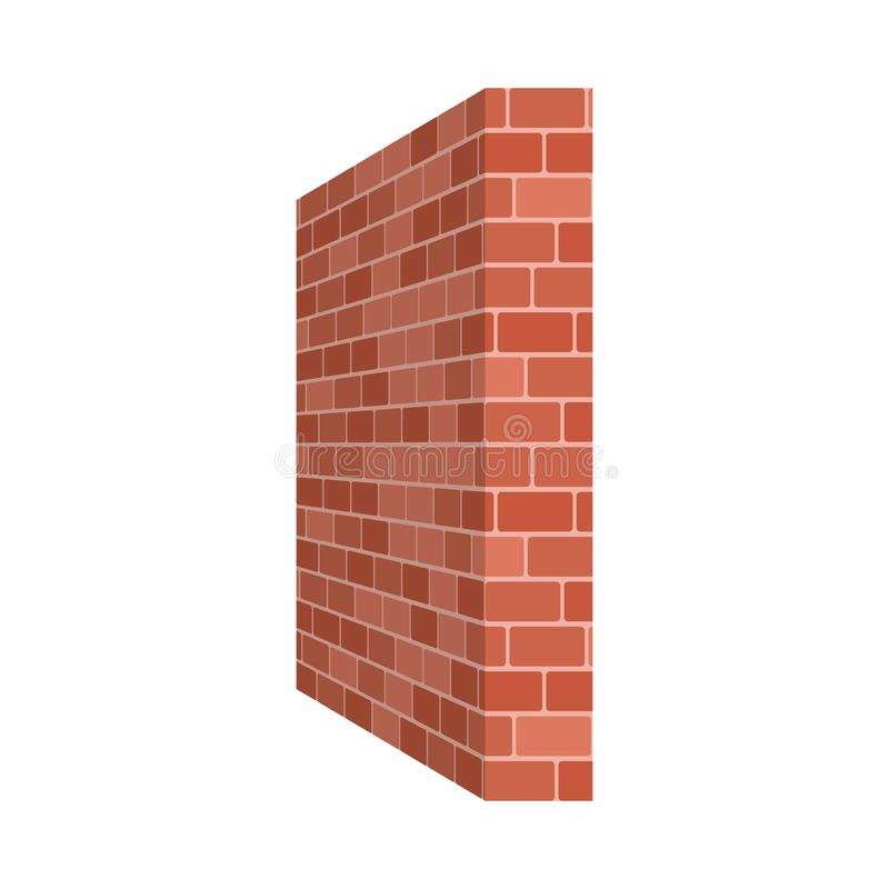 Brick wall perspective isolated on white background. Vector illustration stock illustration
