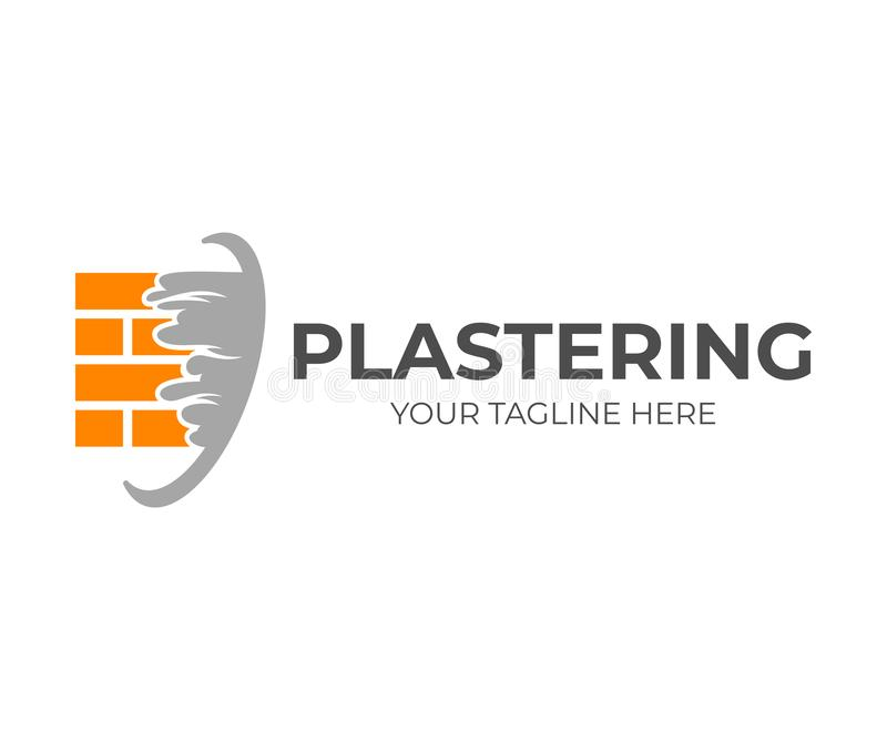 Brick wall with plaster or plastering, logo design. Construction, repair and finishing works, vector design. And illustration royalty free illustration