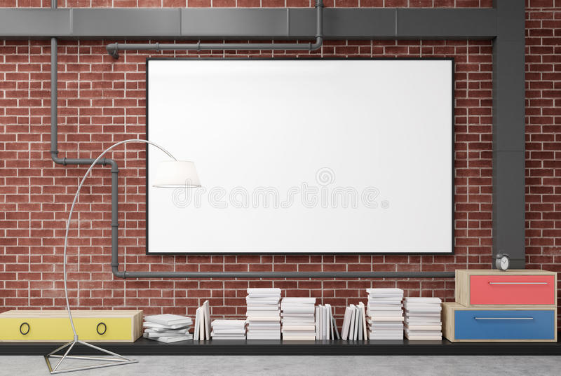 Brick wall with a poster stock illustration