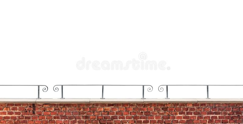 Brick wall and railing isolated on white background royalty free stock images