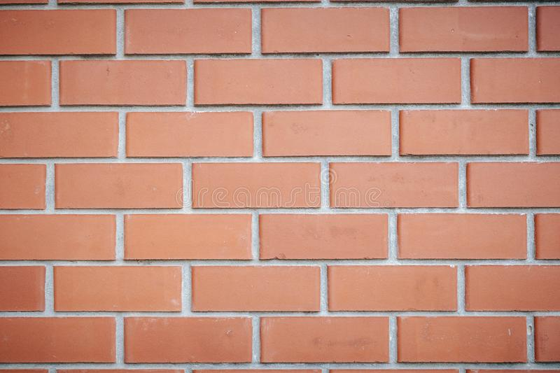 Brick wall of red color, wide panorama of masonry royalty free stock images