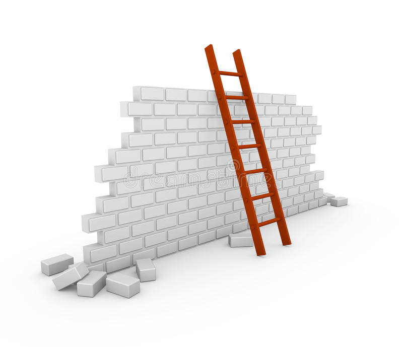 Brick wall with a red ladder stock illustration