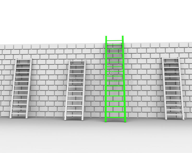 Brick Wall Represents Chalenges Ahead And Brickwall. Brick Wall Meaning Overcome Problems And Difficulty royalty free illustration
