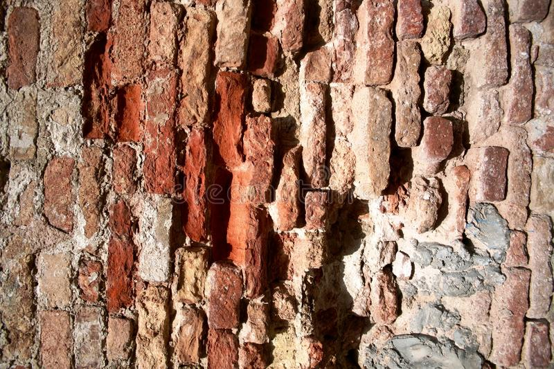 Brick wall before restructuring. Close-upd of medieval wall background before restructuring royalty free stock photo