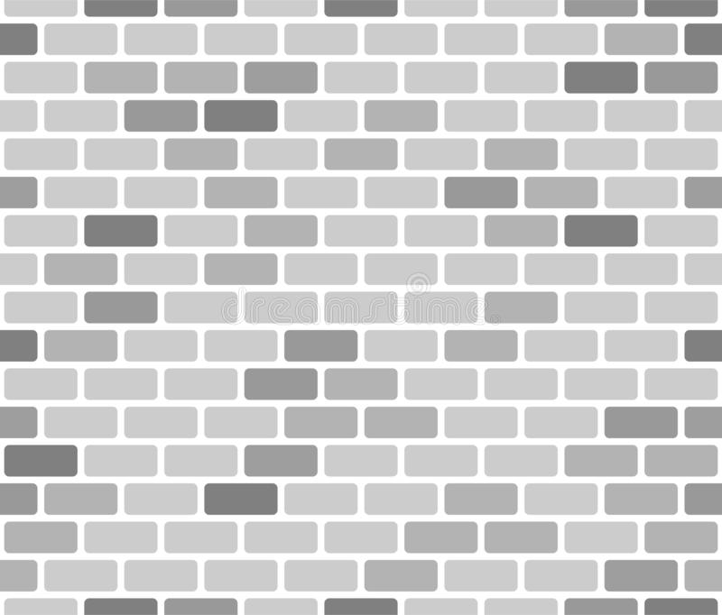 Brick wall seamless pattern, gray on white background. vector illustration