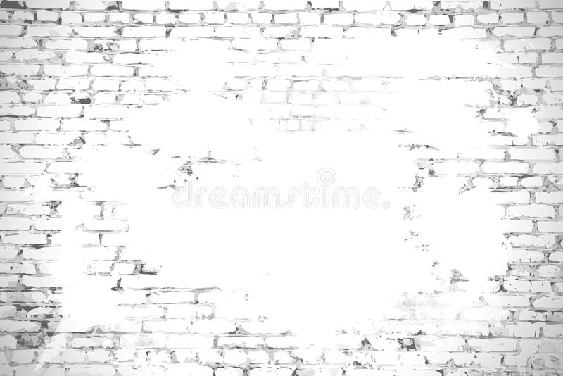 Brick wall with stained whitewash background with space for your. Message stock illustration