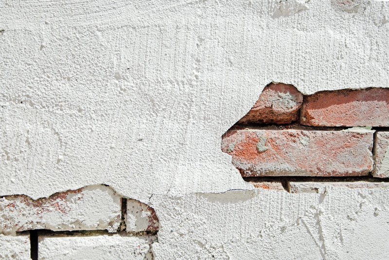 Brick wall with stucco