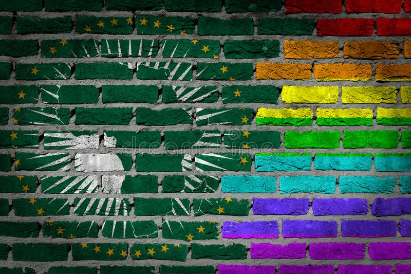 Brick wall texture - Flag of African Union with rainbow flag royalty free stock image
