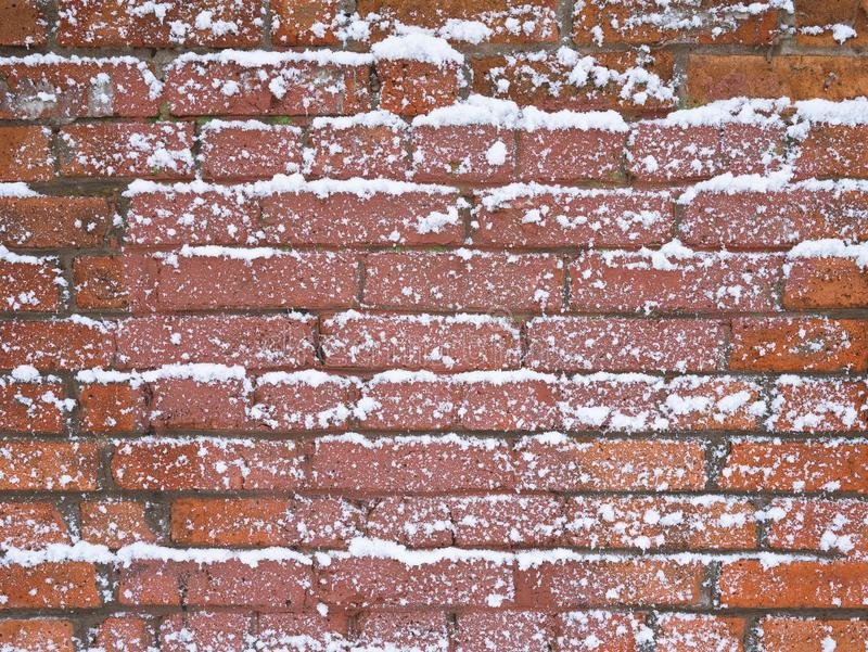 Brick wall texture in the snow. stock image