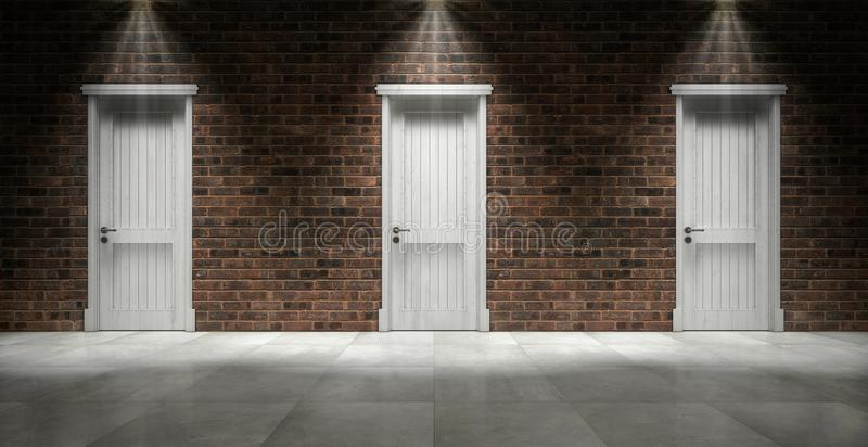 Brick wall with three closed doors vector illustration