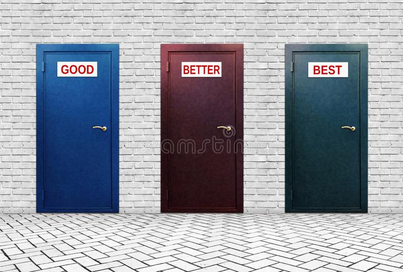 Three doors for Good Better and Best stock photo