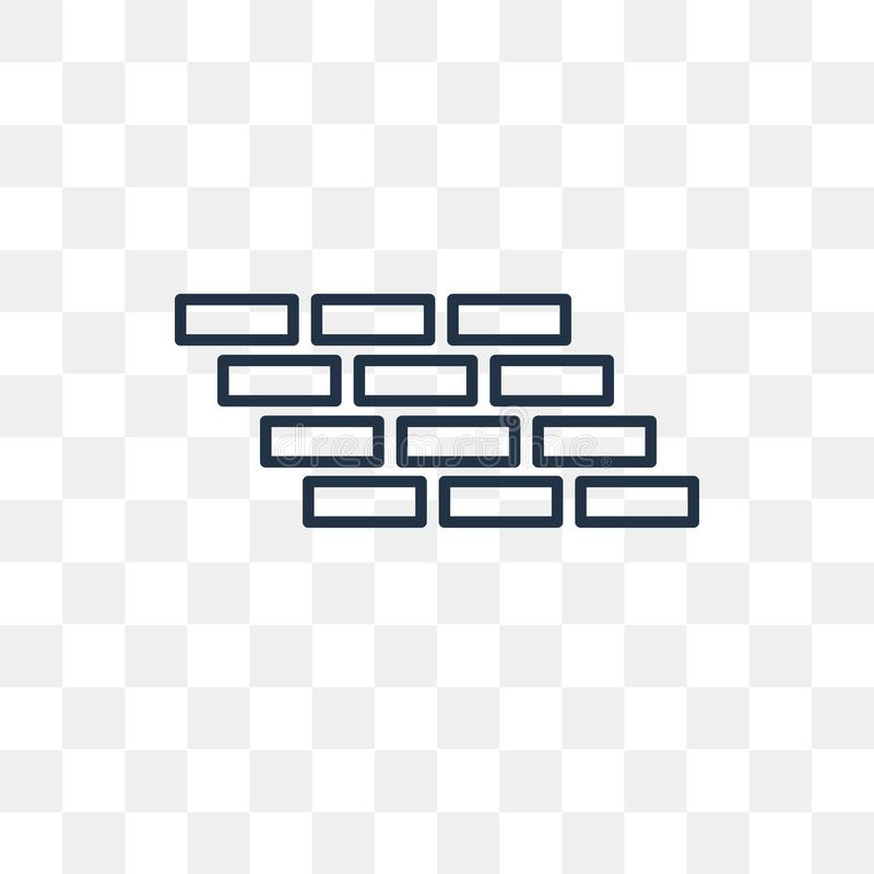 Brick wall vector icon isolated on transparent background, linear Brick wall transparency concept can be used web and mobile. Brick wall vector outline icon royalty free illustration