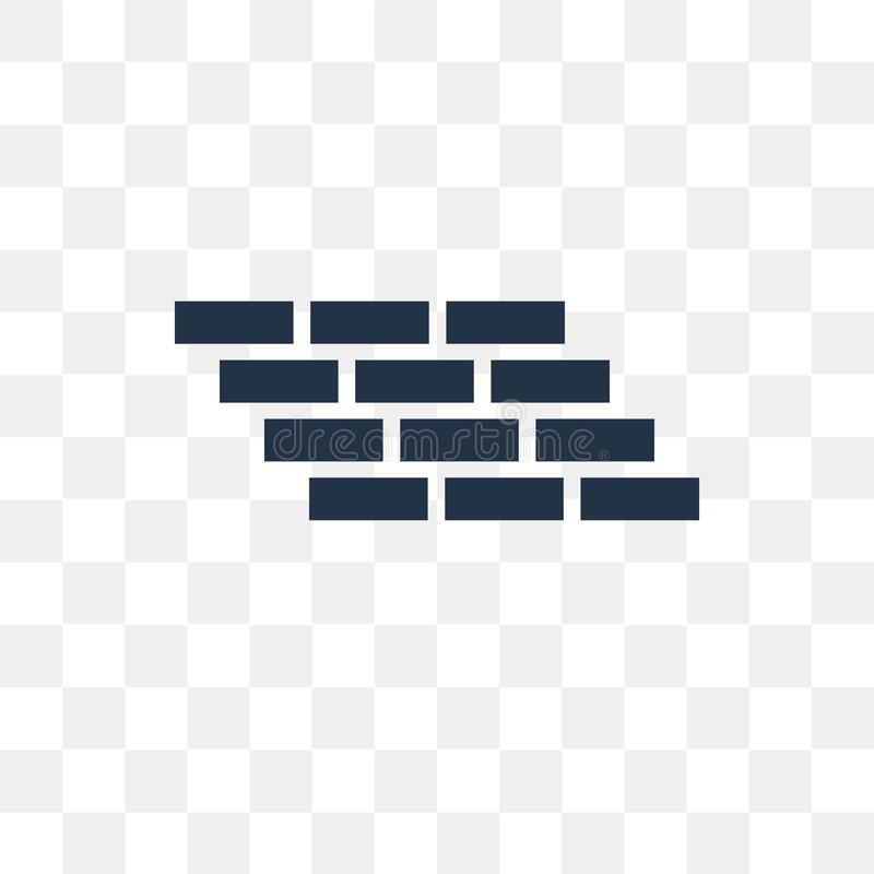 Brick wall vector icon isolated on transparent background, Brick. Wall transparency concept can be used web and mobile vector illustration