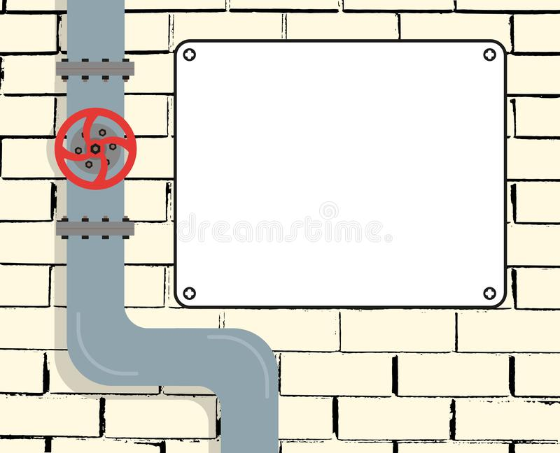 Brick wall with water or gas pipeline or oil pipeline. Water valve. Text Board. Vector illustration. Eps vector illustration