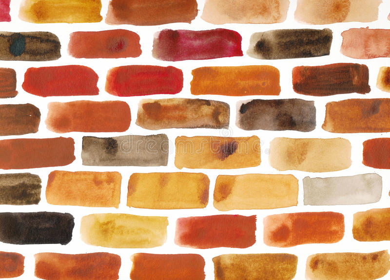 Brick wall - watercolour painting. In brown, red and yellow shades royalty free illustration