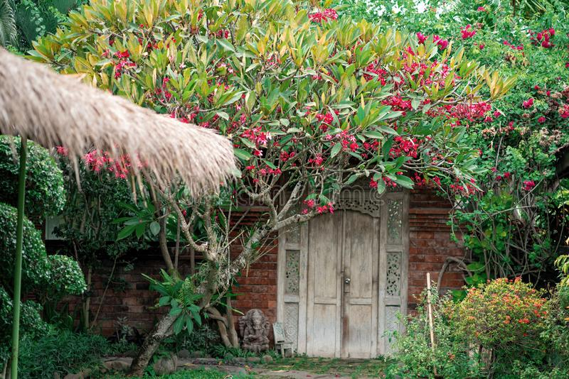 Brick wall with white door, surrounded by thickets of plants and flowers. At the door is a small statue of the Hindu deity Ganesha.  stock image