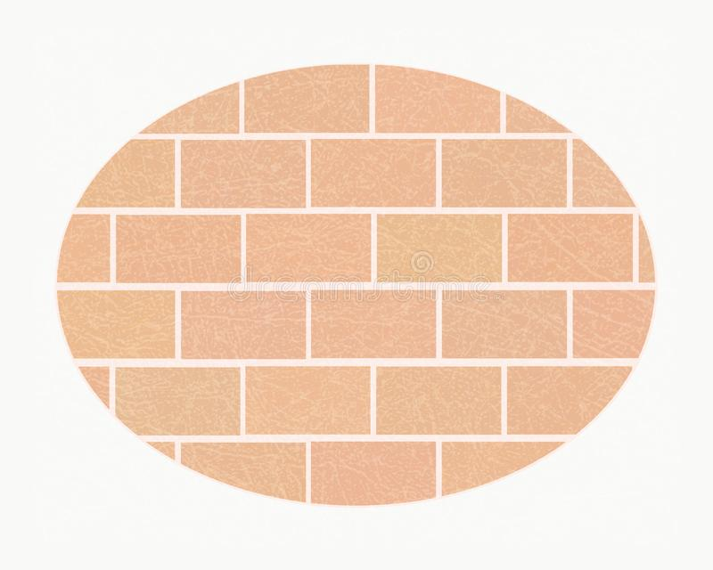 Brick wall in white oval frame with scratched texture, brickwork of ordinary light bricks, grunge. Brick wall in white oval frame with scratched texture, grunge stock illustration