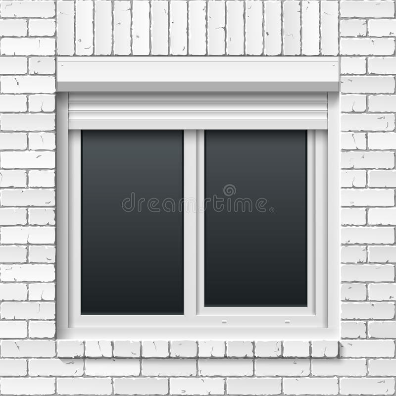 Brick wall with window and rolling shutters vector illustration