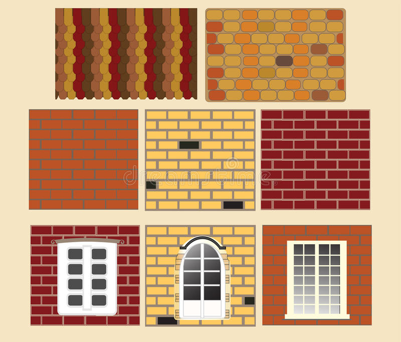 Brick wall with window. Vector