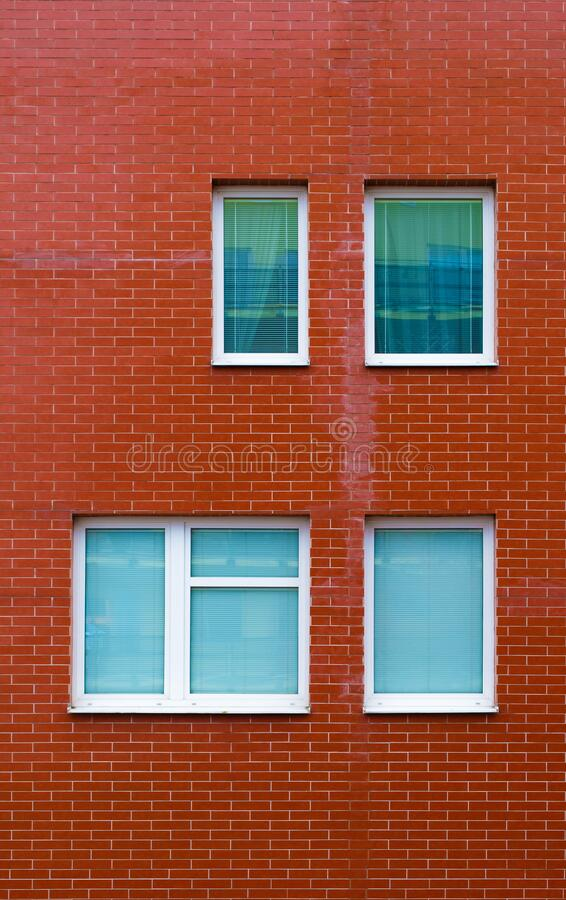 Brick wall with windows royalty free stock image