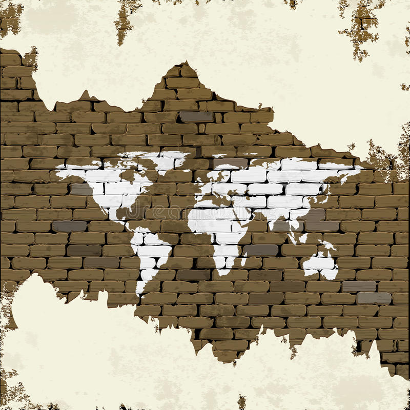 Brick wall with world map and plaster stock vector illustration of download brick wall with world map and plaster stock vector illustration of australia element gumiabroncs Gallery