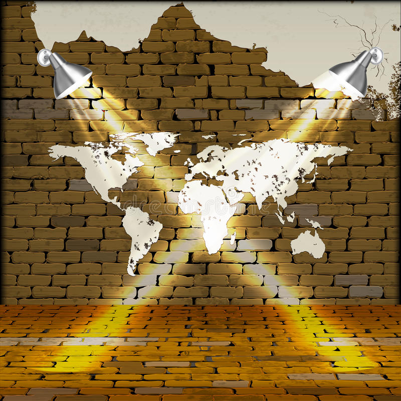 Brick wall with world map and plaster uno stock vector brick wall with drawn map of the world and crumbling plaster gumiabroncs Gallery
