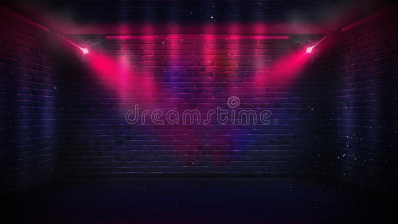 Brick walls, neon rays and glow stock images