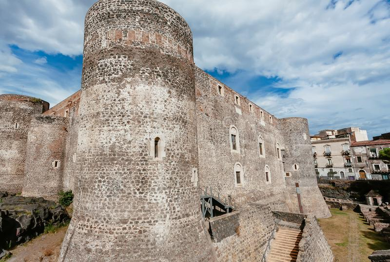Brick walls of 13th century Castello Ursino in italian city Catania. Historical landscape.  royalty free stock photos