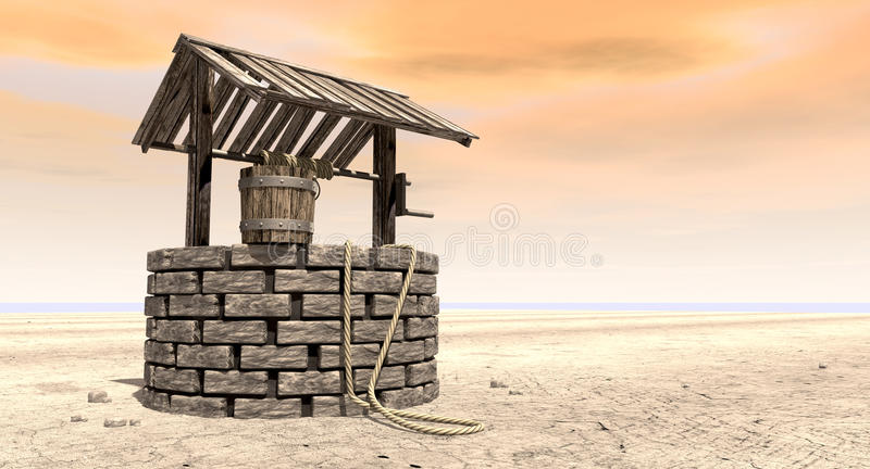 Wishing Well With Wooden Bucket On A Barren Landscape stock illustration