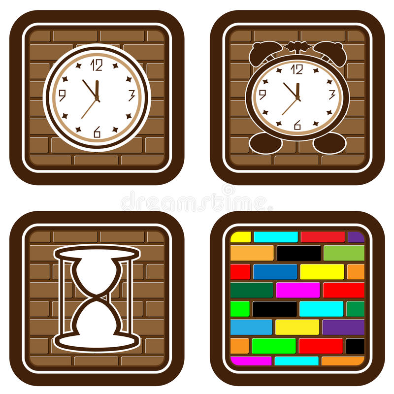 Download Brick Web Buttons With Icons Of Time Stock Vector - Image: 13477490