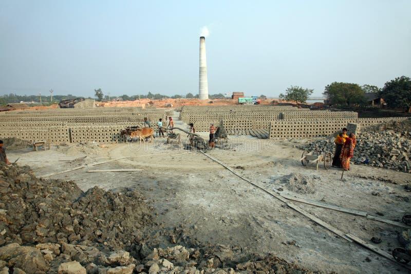 Brickfield in Sarberia, India royalty-vrije stock afbeeldingen