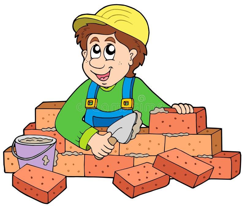 bricklayer счастливый бесплатная иллюстрация