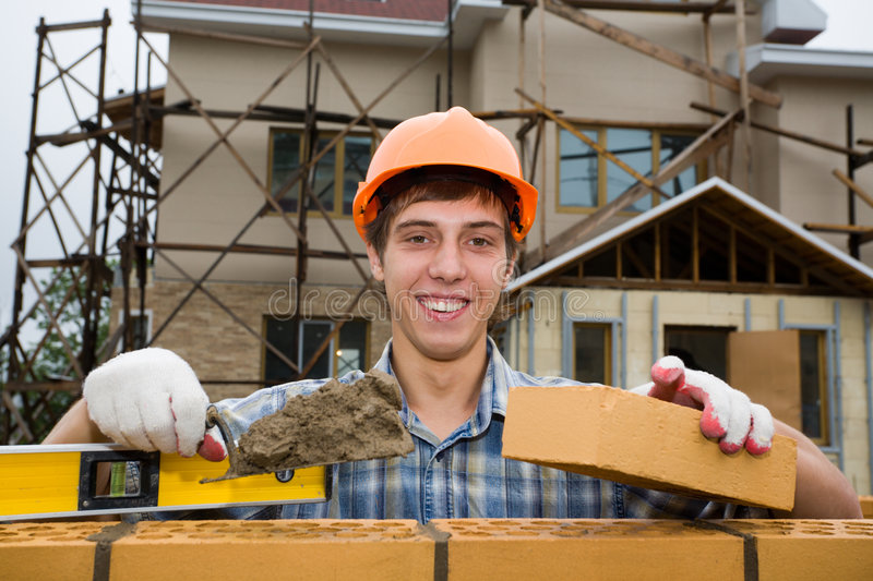 bricklayer royalty free stock images